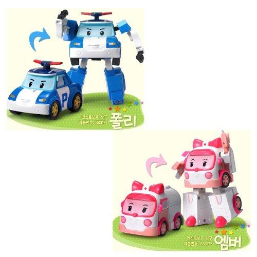 2 juguetes transformables robot Robocar Amber Robocar Poli
