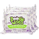 Boogie Wipes Soft Natural Saline Wet Tissues for Baby and Kids Sensitive Nose, Hand, and Face with Moisturizing Aloe, Chamomile, and Vitamin E, Unscented, 30 Count (Pack of 3)