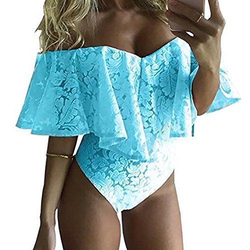 Top Da Body Con Elasticizzato Hibote Senza Blu Spalle Bodywear Donna Scoperte Pizzo In Maniche pwqn55dRv
