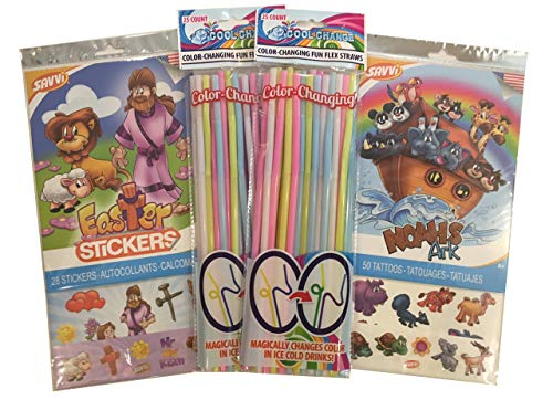 Mixed Party Pack for Kids - Religious Faith Based Temporary Tattoos and Easter Stickers with Color Changing Straws for Girls and Boys