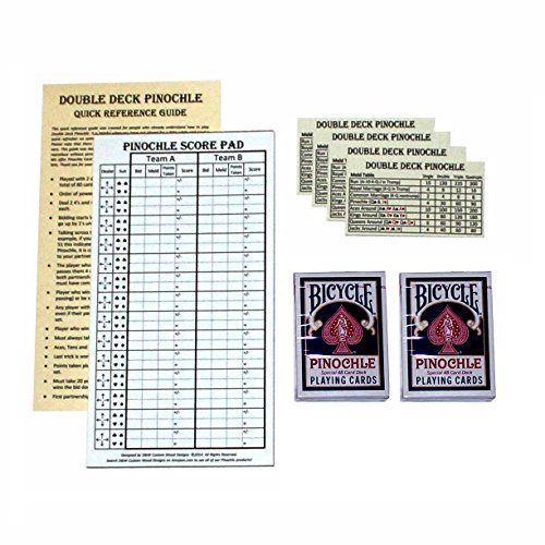 D&W Custom Wood Designs Pinochle Score Pad Gift Set (Blue): 40-Page Score Pad, Two Decks Blue Bicycle Pinochle Playing Cards, Four Meld Tables and Double Pinochle Quick Reference Guide (Wood Playing Card Set)