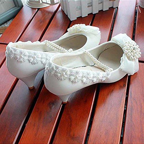 GetmorebeautyUpdate - Zapatos de tacón  mujer Mid heel-White