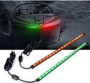 "Xprite 12"" LED Boat Navigation Lights Red and Green Bow Boat Light Strips for Boats Marine Vessel Pontoon"