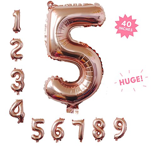 40 Inch Rose Gold Jumbo Digital 5 Number Balloons Huge Giant Balloons Foil Mylar Number Balloons For Birthday Party,Wedding, Bridal Shower Engagement Photo Shoot, Anniversary (Rose Gold,Number 5)