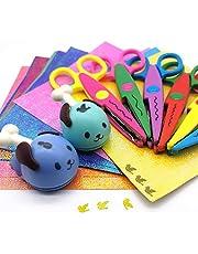 FLYMAN Kids Safety Scissors Preschool Training Edge Scissors Pinking Shears with Glitter Paper, Paper Punch 29 Pack