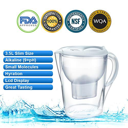 Alkaline Water Pitcher - 3.5 Liters,7 Stage Filteration, Free Filter Included, (White)