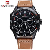Gosasa New Sport Watch Men Analog Digital Watch Luxury Genuine Leather Band Fashion Men Watch (Brown)