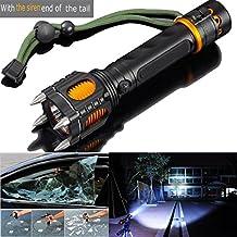 2000LM 6 Modes Tactical Self-Defense Audible Alarm Cree XM-L T6 LED Flashlight, Aluminum Alloy, Black