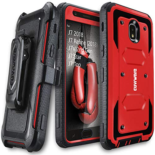 Samsung Galaxy J7 2018/J7 Refine/J7V 2nd Gen/J7 Star/J7 Top/J7 Crown Case, COVRWARE [Aegis Series] w/Built-in [Screen Protector] Heavy Duty Full-Body Armor Case [Belt Clip Holster][Kickstand], Red