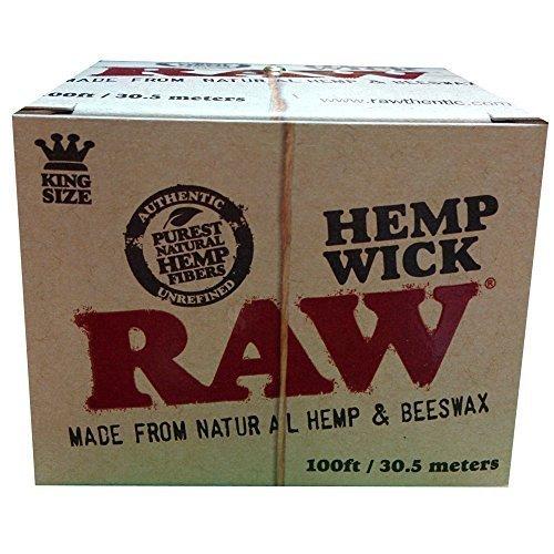 (RAW Natural Unbleached Hemp & Beeswax Hemp Wick 100 feet Spool Roll)