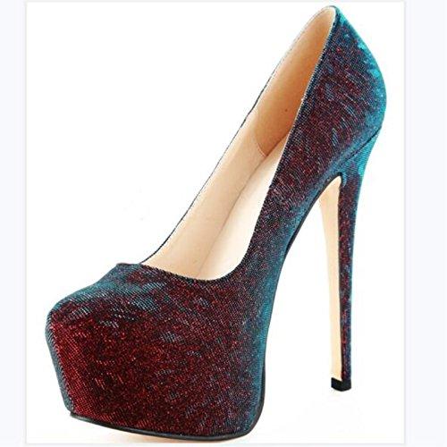 Pu Wine Prom New Round Toe Women's 11 High Sandals F 5 Shoes Heels High 45 14 Pumps Fabric VIVIOO 34 Size cm Red Fashion Heels qFYBdxtBw
