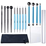 Caydo 15 Pieces Carving Modeling Tool Set Including Ball Stylus Clay Sculpting Tools, Dual-Ended Design Pottery Tools, Ball Rod Stylus Modeling Tools and a Carrying Pouch for Sculpture Pottery