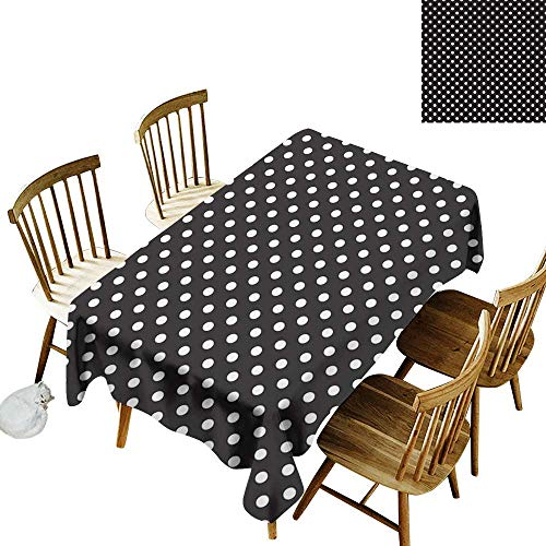 Grid Rectangle Tablecloth W60 x L84 Black and White Classical Pattern of White Polka Dots on Black Traditional Vintage Design Onyx White Suitable for Party Outdoors Farmhouse Coffee Shop Restaurant