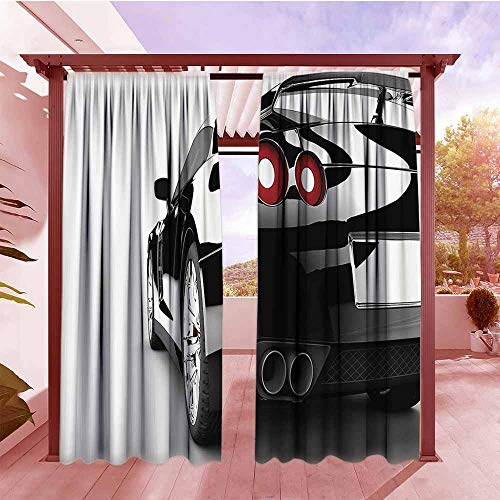 Curtains Rod Pocket Two Panels Cars Decor Collection Rear View of A Modern Automobile with Wealthy Car Objects and Properties Fast Wheel Life Photo Outdoor Privacy Porch Curtains W72x96L Black ()