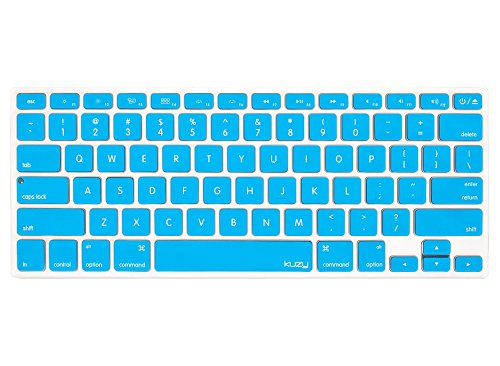 Kuzy AQUA BLUE Keyboard Cover Silicone Skin for MacBook Pro 13 15 17 (with or w/out Retina Display) iMac and MacBook Air 13 - Aqua Blue