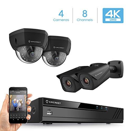 Amcrest 4K 8CH Security Camera System w/H.265 4K (8MP) NVR, (4) x 4K (8-Megapixel) IP67 Weatherproof Metal Bullet & Dome POE IP Cameras (3840×2160), 2.8mm Wide Angle Lens, 98ft Nightvision (Black)