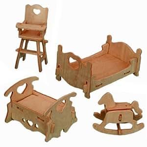 rompecabezas de madera tridimensional - conjunto de los muebles del dormitorio del Dollhouse