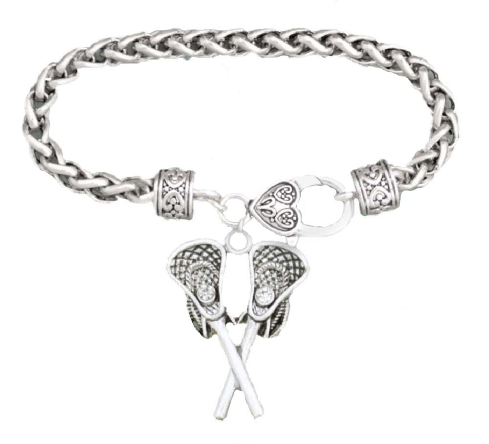 LACROSSE Sticks & Faceted Crystal Puck Charm BRACELET is Embellished with Clear Crystal Rhinestones.Heart Lobster Claw Clasp.Celebrate Your Favorite Sport -Gift Boxed