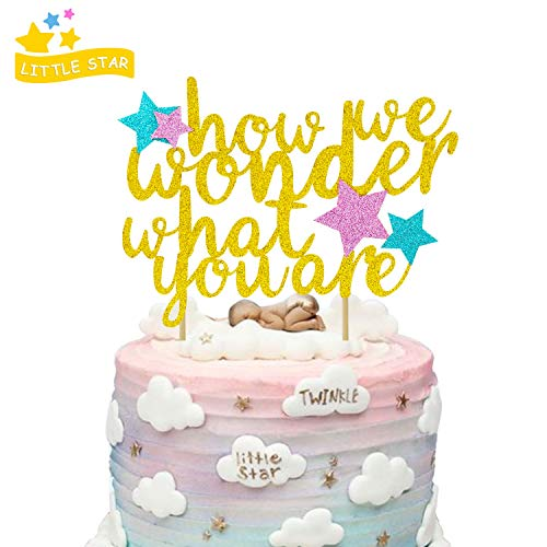 How We Wonder What You are Cake Topper for Kids Birthday Party Baby Shower Gender Reveal Gold Glitter Decorations