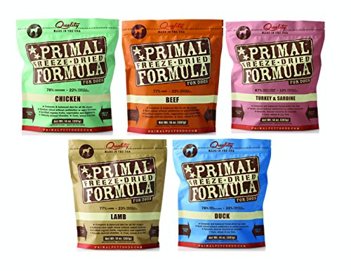 Primal Freeze Dried Dog Food Variety Pack 14oz (Includes: Chicken, Beef, Duck, Lamb, and Turkey/Sardine) by Primal