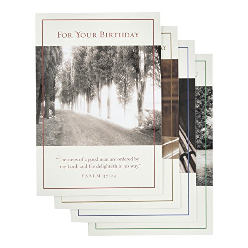 Religious Birthday Cards - DaySpring Birthday Greeting Card with Embossed White Envelopes, 12 Count, Pressing On (37340)