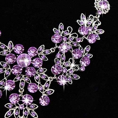 Women Jewelry ,AIMTOPPY Prom Wedding Bridal Jewelry Crystal Rhinestone Necklace Earring Sets (Purple, free)