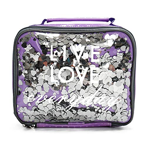 Insulated Lunch Box For Kids, Girls Glitter Lunch Bag By Silverflye- Quality Lead Free Zipper, Stitching and Seams, Cute Girl Fashion Lunch Bag with Aluminum Insulation, Easy Cleaning, Pink Or Purple (Rules For Adding Positive And Negative Numbers)