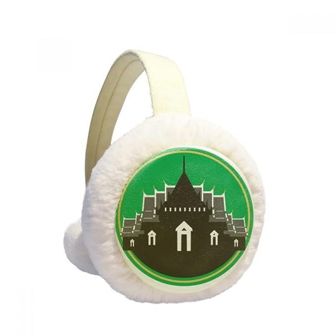 Thailand Made in Thailand Temple Shield Winter Earmuffs Ear Warmers Faux Fur Foldable Plush Outdoor Gift