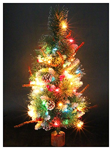 CASACLAUSI Artificial Christmas Tree on Wood Base with Ornaments and Pre-Lit Multi-Colored Lights, Green (Artificial Ft 1 Tree Christmas)