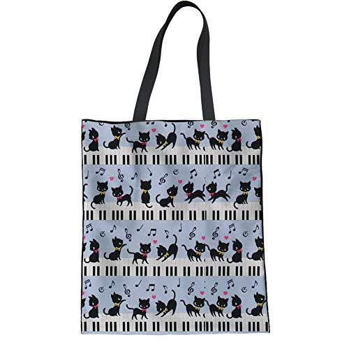 (HUGS IDEA Cartoon Animal Tote Bag Handbag Funny Cat Music Note Piano Keyboard Print Casual Canvas Top Hand Bags for Teens )