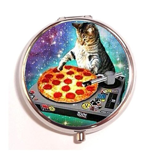 - Funny Space Cat And Pizza Custom Design Customized Round Pill Box Decorative Metal Drug Container Box Pocket or Wallets