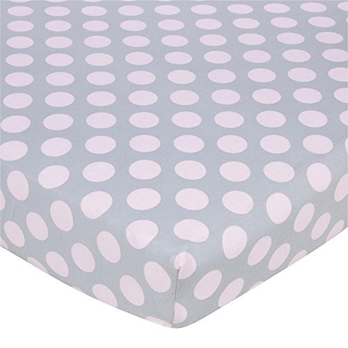 Gerber Knit Crib Sheet - Pink Dots on Grey