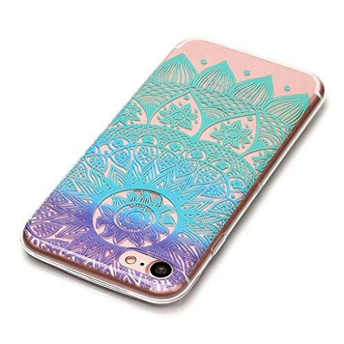 Crisant Case Cover For Apple iPhone 7 4.7'' (4,7''),fleur bleue Premium gel TPU souple Très mince Transparent Clair Bumper silicone protection Housse arrière coque étui Pour Apple iPhone 7 4.7'' (4,7'