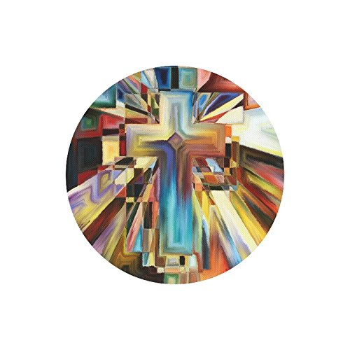 (InterestPrint Abstract Angles of The Cross Series in Tie Dye Pattern Round Non-Slip Rubber Laptop Mousepad Mouse Pads/Mouse Mats Case Cover for Office Home Woman Man Employee Boss Work)