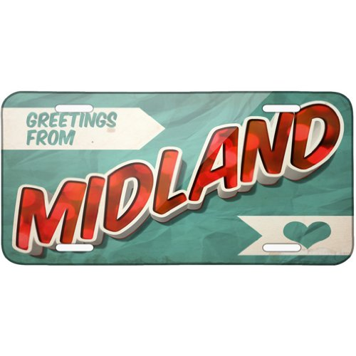 Metal License Plate Greetings from Midland, Vintage Postcard - Neonblond