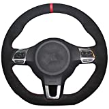 vw r steering wheel - Suede Genuine Leather Steering Wheel Cover for Volkswagen Golf 6 GTI MK6 VW Polo GTI Scirocco R Passat CC R-Line 2010