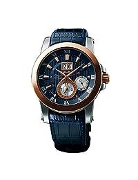 Seiko Men's Premier Kinetic SNP126 Blue Leather Quartz Watch