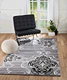 """SUMMIT BY WHITE MOUNTAIN Summit KM-Y45D-DRXX New Elite ST52 Royal Damask Boroque Vintage Look Area Rug Grey White Black Many Sizes Available (5 x 7 Actual Is 4′.10"""" x 7′.2"""") For Sale"""