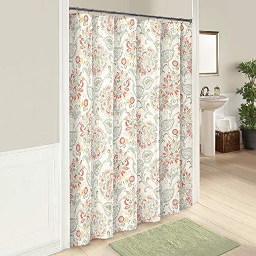 (Blue Red Green Paisley Shower Curtain, Soft Sage Orange Floral Leaves Jacobean Print Pattern Bathtub Curtain, Master Guest Bathroom Decor Elegant Sophisticated Beautiful Flowers, 72x72 Cotton)