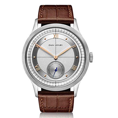 Dan Henry 1947 Elegant Men's Dress Watch with Brushed Chapter Ring with Rose Gold Applied Roman Numerals, Limited Edition, 40mm Stainless Steel Case, Brown Italian Leather Strap + Black Nato Strap