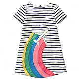 AILEESE Toddler Kids Baby Girls Sundress Lovely Jumper Skirt Blue Striped Flower Party Gown Casual Beach Dresses 2T-7T