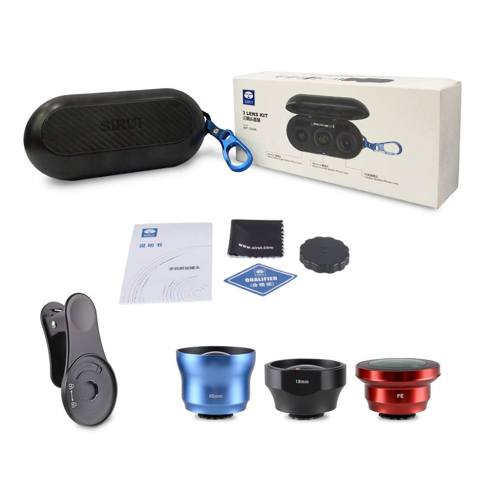 Sirui 3 Lens Kit w/clip, Made with German Schott Glass w/Aluminum Housing, 18mm Wide Angle Lens, 170° Fisheye Lens and 60mm Portrait Lens for iPhone, Pixel, Samsung Galaxy and most other Camera Phones