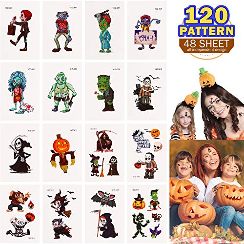 JEICY Halloween Temporary Tattoo - 48 Sheets 120 Cute Designs Halloween Tattoos Stickers for Kids ()