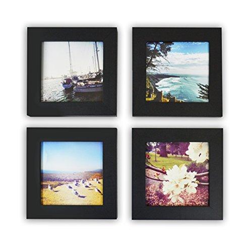 (Golden State Art, Set of 4, 4x4-inch Square Photo Wood Frame, Black)