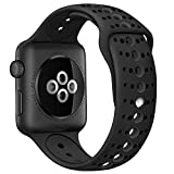 GHIJKL Sports Band Compatible Apple Watch 44mm 42mm, Soft Silicone Replacement iWatch Wristband Apple Watch Sport, Series 1, 2, 3, 4-Black/Black-42mm, 44mm