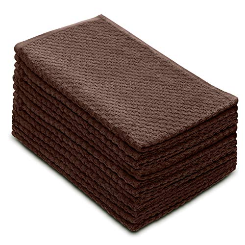 (Cotton Craft - 12 Pack - Euro Cafe Waffle Weave Terry Kitchen Towels - 16x28 Inches - Chocolate - 400 GSM Quality - 100% Ringspun 2 Ply Cotton - Highly Absorbent Low Lint - Multi Purpose)