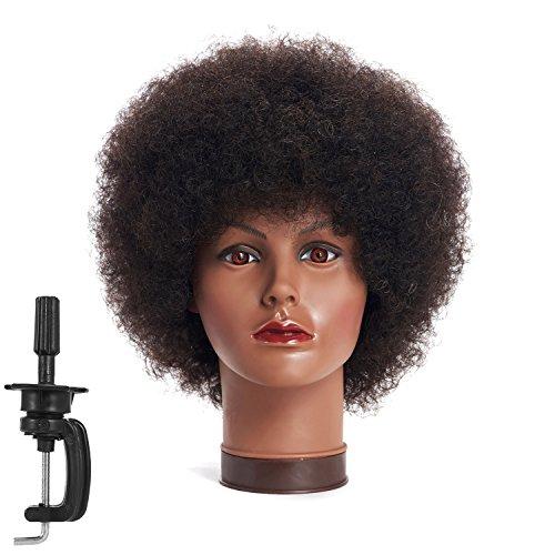 100% Human Hair Mannequin head Training Head Cosmetology Manikin Head Doll Head with free Clamp (A)