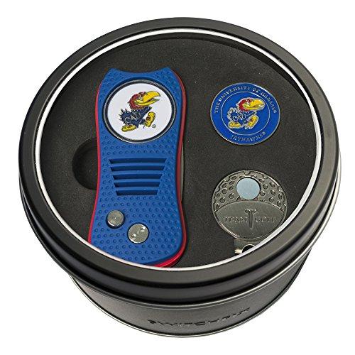 Team Golf NCAA Kansas Jayhawks Gift Set Switchblade Divot Tool, Cap Clip, & 2 Double-Sided Enamel Ball Markers, Patented Design, Less Damage to Greens, Switchblade Mechanism