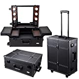 AW Black Rolling Studio Makeup Artist PVC Cosmetic 15x8x19' Case w/ Light Mirror Portable Train Table