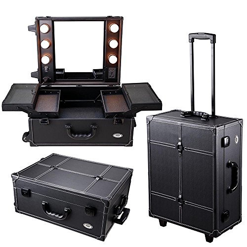 AW Black Rolling Studio Makeup Artist PVC Cosmetic 15x8x19' Case w/ Light Mirror Portable Train Table by AW